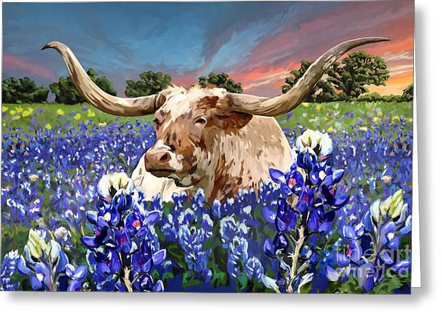 Texas Longhorn In Bluebonnets Greeting Cards - Longhorn in bluebonnets Greeting Card by Tim Gilliland