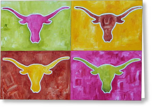 University Of Texas Greeting Cards - Longhorn Pop Art Greeting Card by Patti Schermerhorn