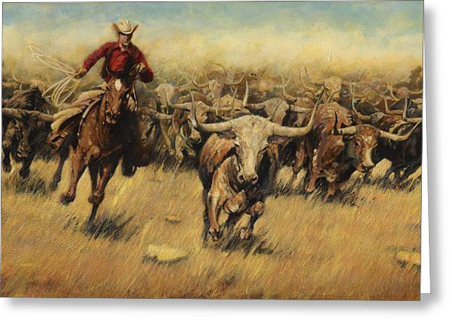 Lasso Greeting Cards - Longhorn Stampede Greeting Card by Don  Langeneckert