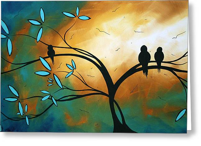 Turquoise Greeting Cards - Longing by MADART Greeting Card by Megan Duncanson