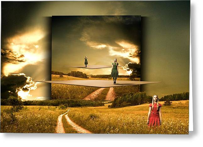 Country Dirt Roads Mixed Media Greeting Cards - Longing waiting for the love with my red dress Greeting Card by Franziskus Pfleghart