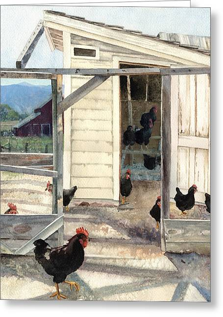 Longmont Henhouse Greeting Card by Anne Gifford