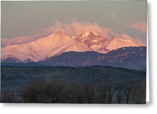 Meeker Greeting Cards - Longs Peak 1 Greeting Card by Aaron Spong