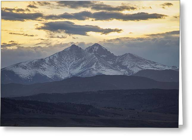 Lady Washington Greeting Cards - Longs Peak 3 Greeting Card by Aaron Spong
