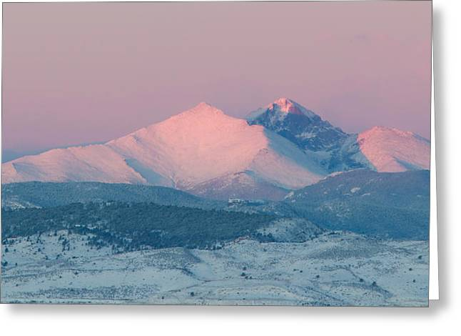 Recently Sold -  - Lady Washington Greeting Cards - Longs Peak Alpenglow in Winter Greeting Card by Aaron Spong