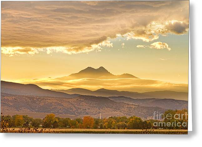 Colorado Mountain Prints Greeting Cards - Longs Peak Autumn Sunset Greeting Card by James BO  Insogna