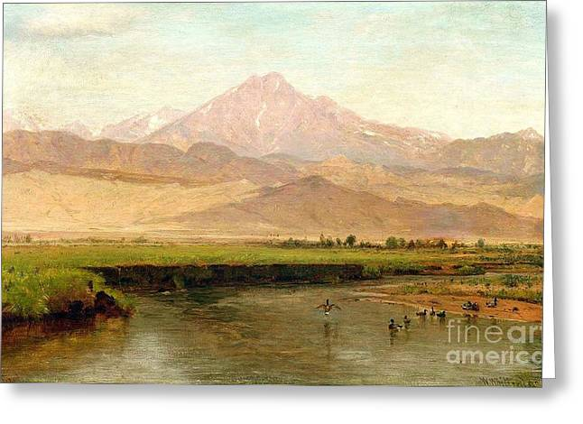 C.1870 Greeting Cards - Longs Peak Colorado Greeting Card by Pg Reproductions