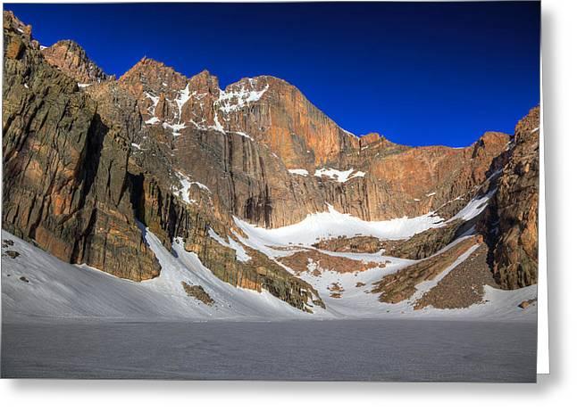 Chasm Lake Greeting Cards - Longs Peak from Chasm Lake Greeting Card by Alan Vance Ley