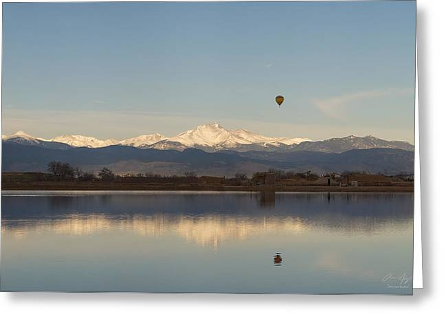 Longmont Greeting Cards - Longs Peak Hot Air Balloon Greeting Card by Aaron Spong