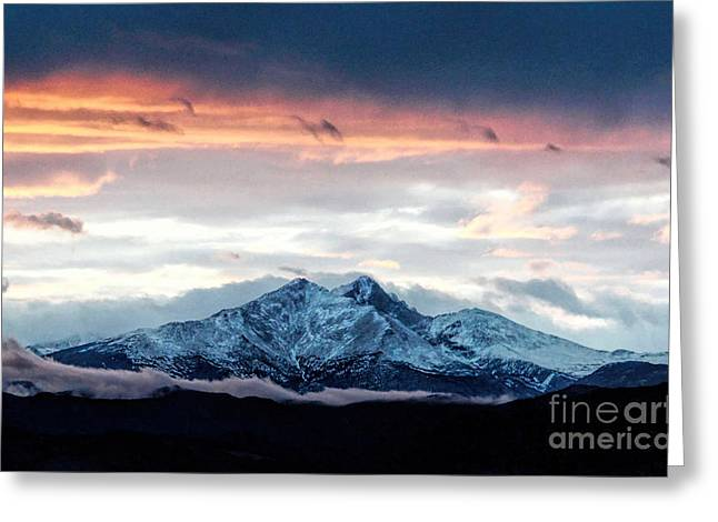 Hunting Cap Greeting Cards - Longs Peak in Winter Greeting Card by Jon Burch Photography