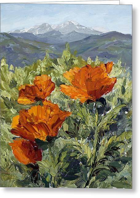 Longs Peak Poppies Greeting Card by Mary Giacomini