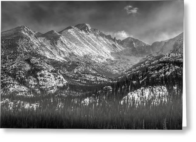 Blowing Snow Greeting Cards - Longs Peak Rocky Mountain National Park Black and White Greeting Card by Ken Smith