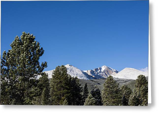 Chasm Lake Greeting Cards - Longs Peak - Rocky Mountain National Park Estes Park Colorado Greeting Card by Brian Harig