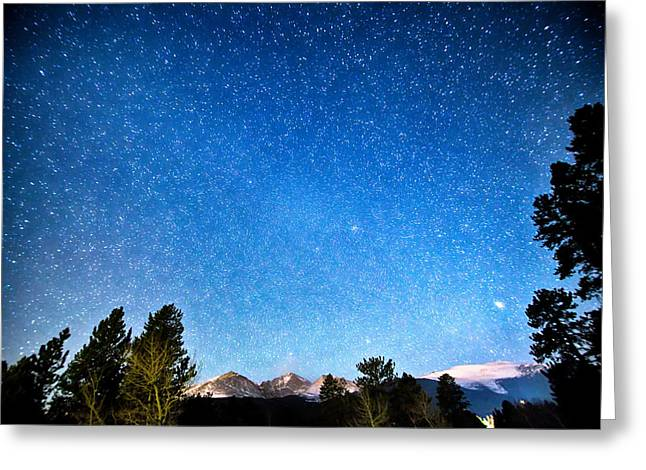 Star Gazing Greeting Cards - Longs Peak Stargazing Colorado Greeting Card by James BO  Insogna