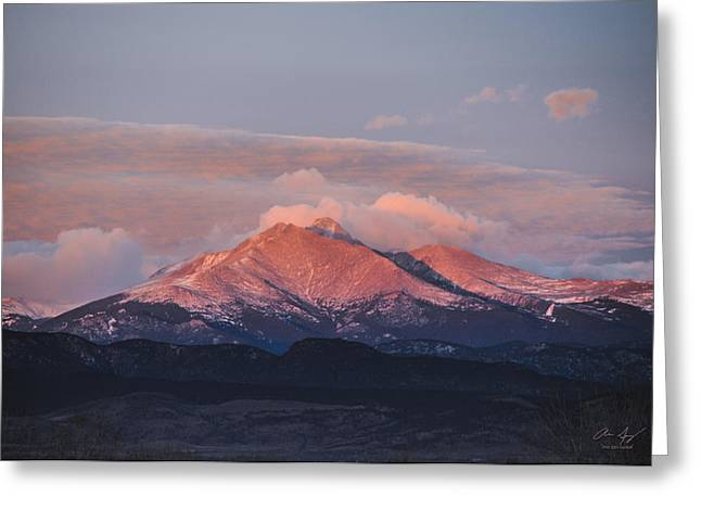 Longs Peak Sunrise Greeting Card by Aaron Spong
