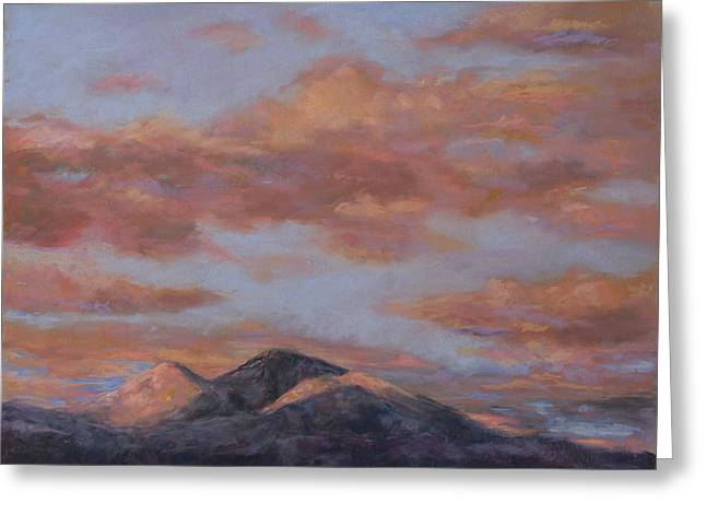 Peaches Pastels Greeting Cards - Longs Peak Sunrise Greeting Card by Billie Colson