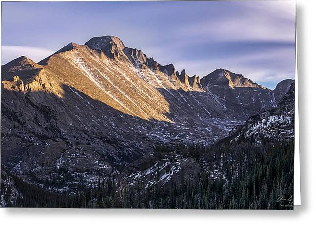 Reflections Of Sun In Water Greeting Cards - Longs Peak Sunset Greeting Card by Aaron Spong