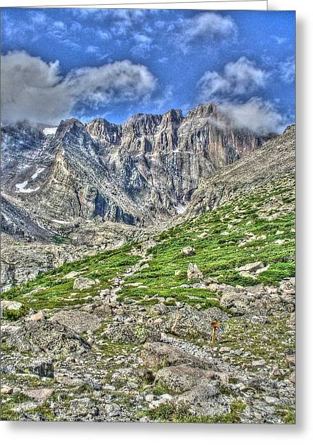 Chasm Lake Greeting Cards - Longs Peak Trail Greeting Card by Twain and Denise Wilkins