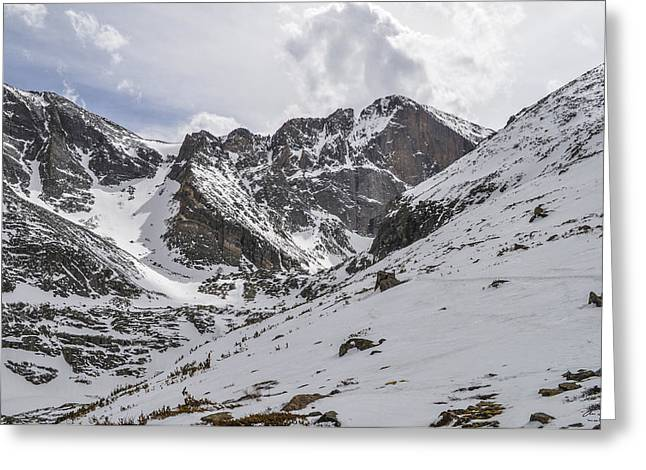 Meeker Greeting Cards - Longs Peak Winter Greeting Card by Aaron Spong