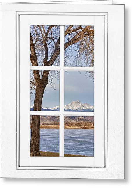 Room With A View Greeting Cards - Longs Peak Winter View Through a White Window Frame Greeting Card by James BO  Insogna