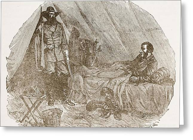 Tent Greeting Cards - Longstreet Reporting At Braggs Greeting Card by Alfred R. Waud