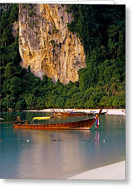 Phi Greeting Cards - Longtail Boat In Ton Sai Bay, Phi Phi Greeting Card by Panoramic Images