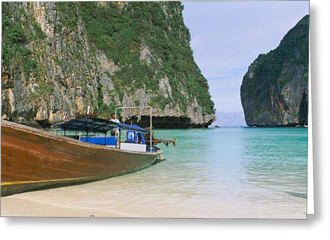 Water Vessels Greeting Cards - Longtail Boats Moored On The Beach Greeting Card by Panoramic Images