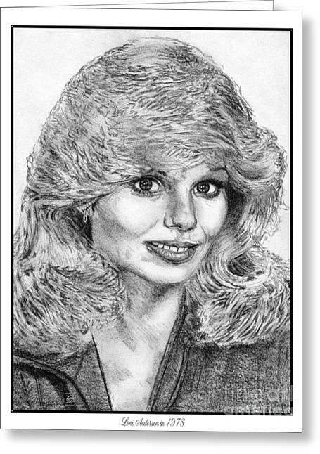 Fame Drawings Greeting Cards - Loni Anderson in 1978 Greeting Card by J McCombie