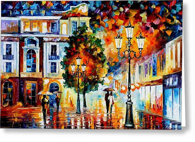 Popular Art Greeting Cards - Lonley Couples - PALETTE KNIFE Oil Painting On Canvas By Leonid Afremov Greeting Card by Leonid Afremov
