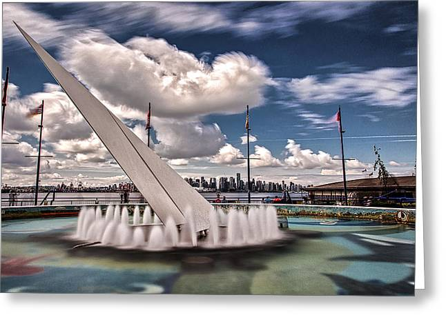 Cityscape Pyrography Greeting Cards - Lonsdale Quay Plaza Fountain Greeting Card by Jack Vainer
