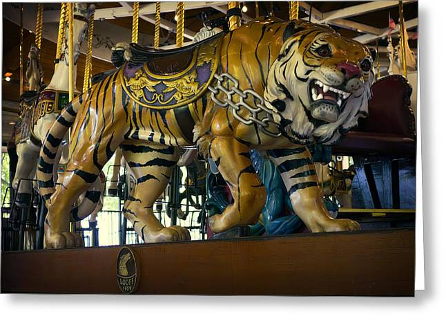 The Tiger Greeting Cards - Looff Carousel Tiger 2 Greeting Card by Daniel Hagerman