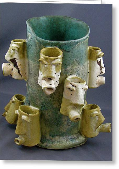 Face Ceramics Greeting Cards - Look Around #3 Greeting Card by Mario Perron