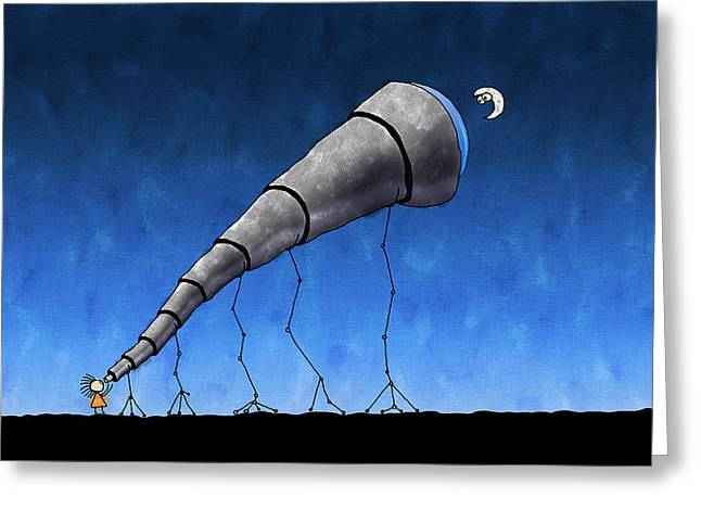 Look at Me Moon Greeting Card by Gianfranco Weiss