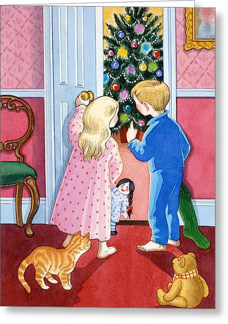 Cat Christmas Cards Greeting Cards - Look at the Christmas Tree Greeting Card by Lavinia Hamer