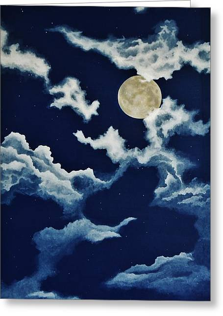Man In The Moon Greeting Cards - Look at the Moon Greeting Card by Katherine Young-Beck