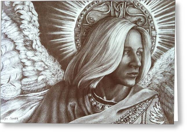 Guardian Angel Drawings Greeting Cards - Look Homeward Angel Greeting Card by Esther Smith