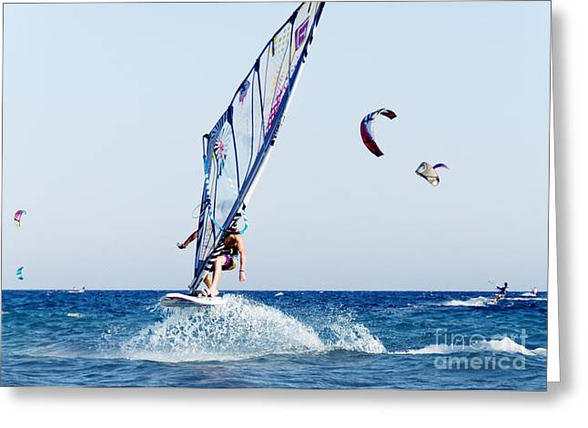 Sail Board Greeting Cards - Look No Hands Greeting Card by Stylianos Kleanthous