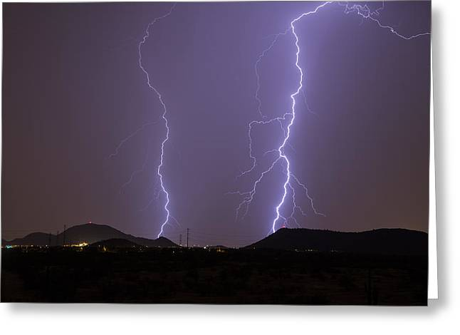 Arizona Lightning Greeting Cards - Look Out Greeting Card by Cathy Franklin