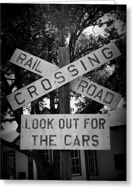 Old Roadway Greeting Cards - Look Out For Cars Greeting Card by Laurie Perry