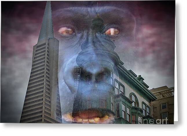 Downtown San Francisco Greeting Cards - Look Out San Francisco King Kong is coming  Greeting Card by Jim Fitzpatrick