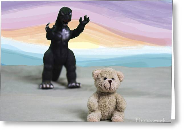 Surprise Mixed Media Greeting Cards - Look Out Teddy Greeting Card by Jacqueline Barden