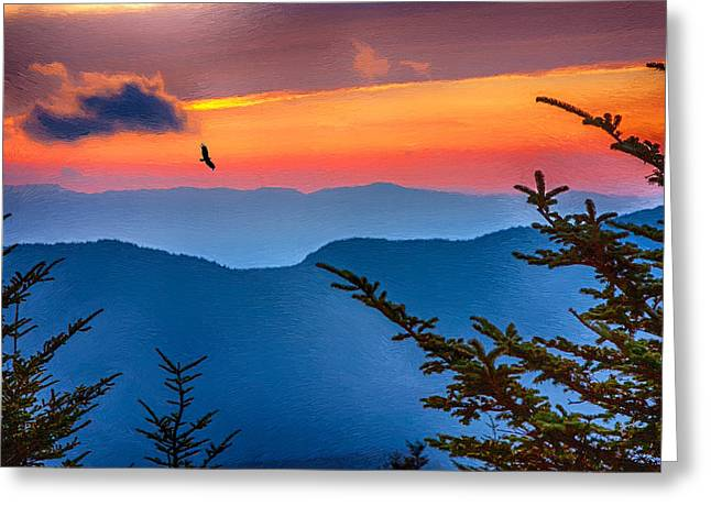 Blue Ridge Mountains Greeting Cards - Look to the Sunset from the Top of Mount Mitchell Greeting Card by John Haldane