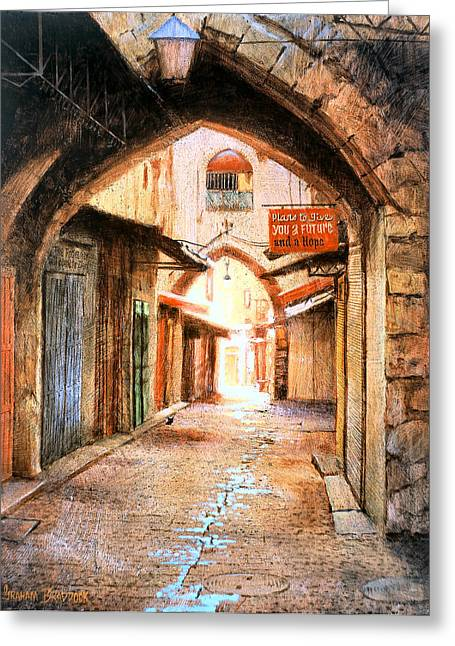 Religious Art Paintings Greeting Cards - Look Who is Coming Greeting Card by Graham Braddock