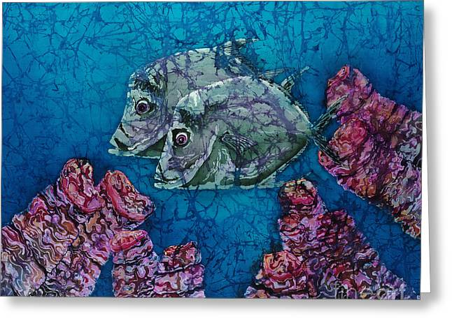 Sea Life Tapestries - Textiles Greeting Cards - Lookdowns Pair Greeting Card by Sue Duda