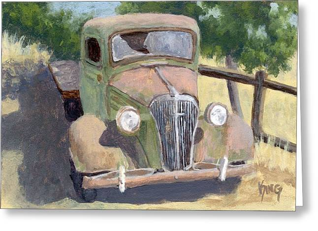 Truck Grill. Fence Greeting Cards - Lookin Back Greeting Card by David King