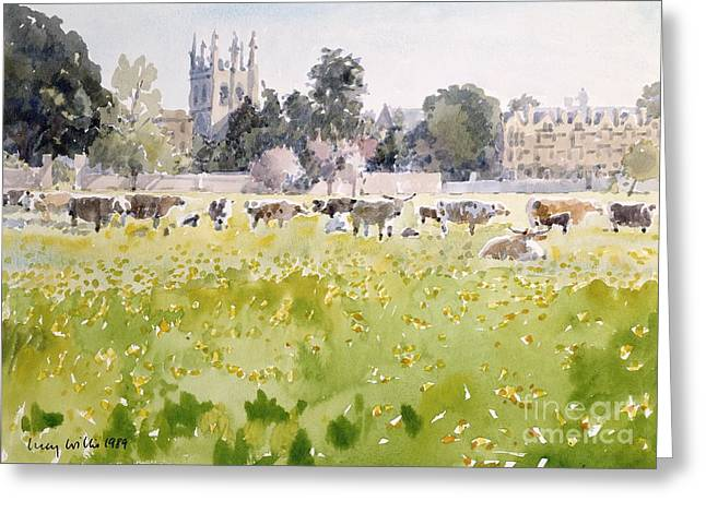 Cluttered Greeting Cards - Looking Across Christ Church Meadows Greeting Card by Lucy Willis