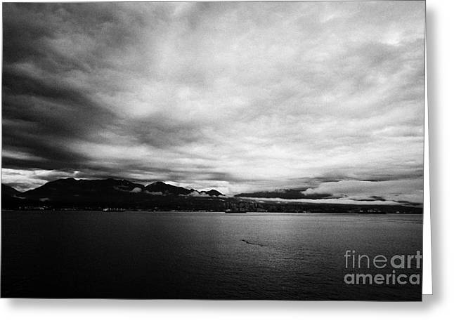 North Vancouver Greeting Cards - looking across Vancouver harbour on a cloudy grey sky morning BC Canada Greeting Card by Joe Fox