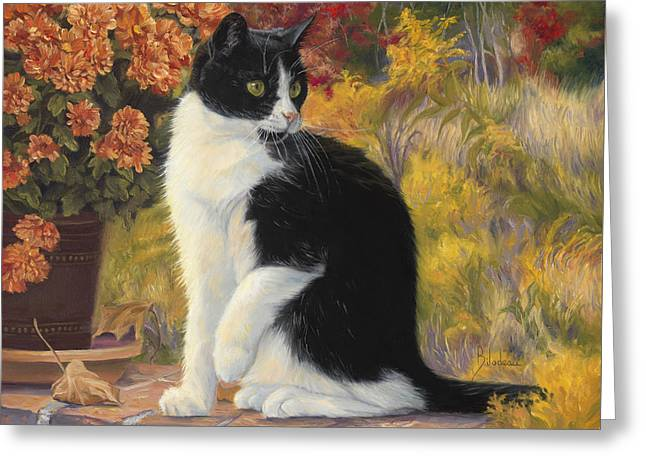 Domestic Cat Greeting Cards - Looking Afar Greeting Card by Lucie Bilodeau