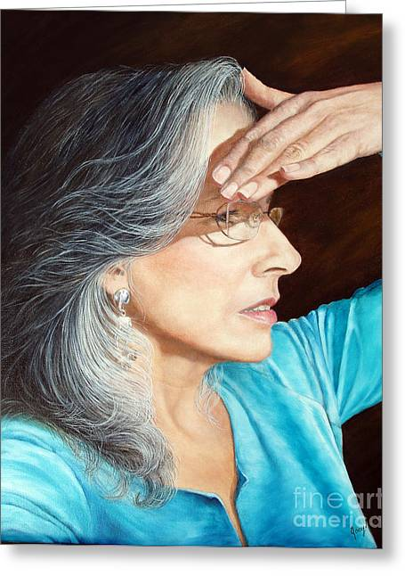 Self-portrait Greeting Cards - Looking Ahead Greeting Card by Joey Nash