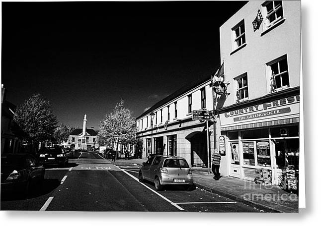 Westport Greeting Cards - Looking Along Shop Street Towards The Octagon With Statue Of St Patrick Westport County Mayo Republic Of Ireland Greeting Card by Joe Fox